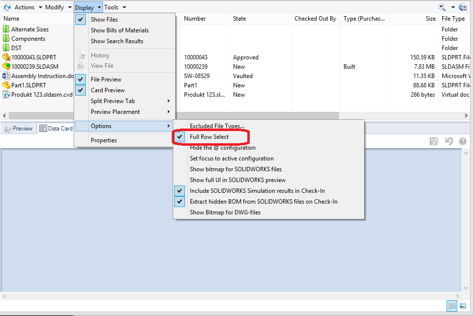 SOLIDWORKS Enterprise PDM Explorer Display Options Full row select