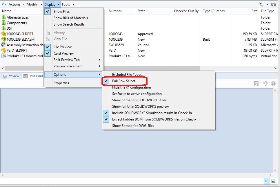 SOLIDWORKS Enterprise PDM Explorer Display Options Full row select