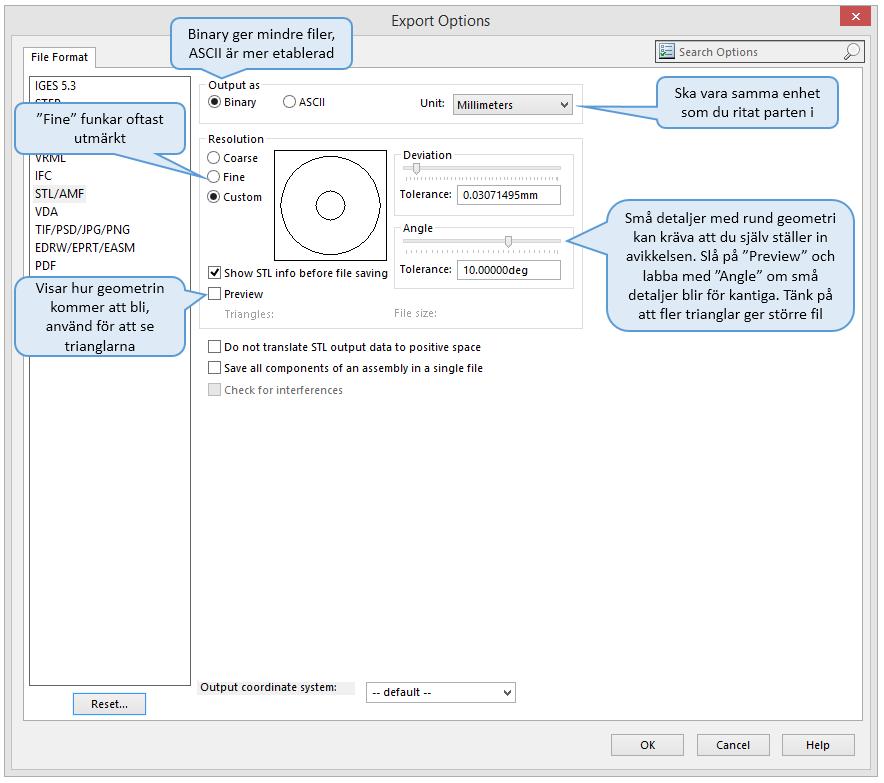 Inställningar som påverkar noggrannheten i STL-filen