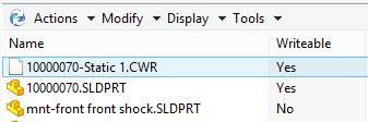 """Kolumnen """"Writeable"""" visar om filen kan ändras i off-line-läget eller ej."""