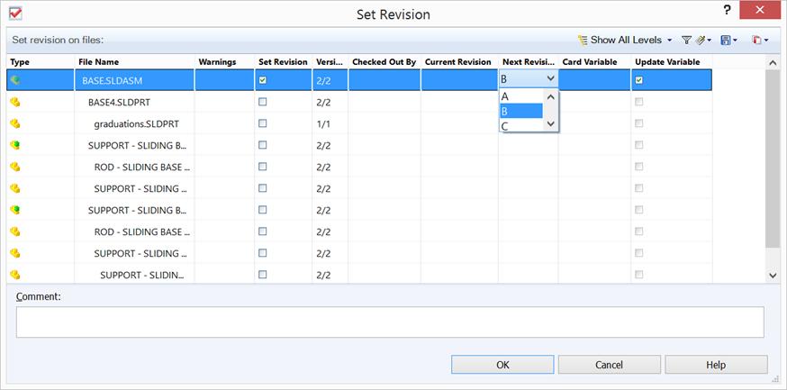 """Funktionen """"Set Revision"""" används för att sätta revisionen manuellt till det man vill ha, ett sätt att gå runt vad systemet tycker att nästa revision är. Dessutom kan man se till att uppdatera variabeln revision på kortet!"""