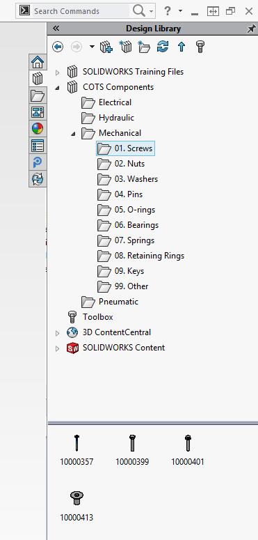 Det är smidigt att ha standardkomponenter som skruvar, muttrar brickor, o-ringar mm i en mappstruktur i PDM:en. Denna ska självklart också alltid finnas lokalt på alla SOLIDWORKS-användares datorer...