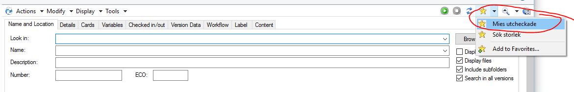 Sparade sökkriteria är smidigt att ha för det man söker ofta på, t ex sina utcheckade filer. På så vis slipper man ställa in samma sak om och om igen. Ställ in sökningen och spara med ett unikt namn.