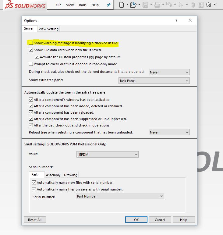 Det går att slå av varningen för att man ändrar på en incheckad fil. I början kan det vara bra att få denna varning som påminner om att checka ut filen så man kan spara sina ändringar men efter ett tag så behövs den inte längre...